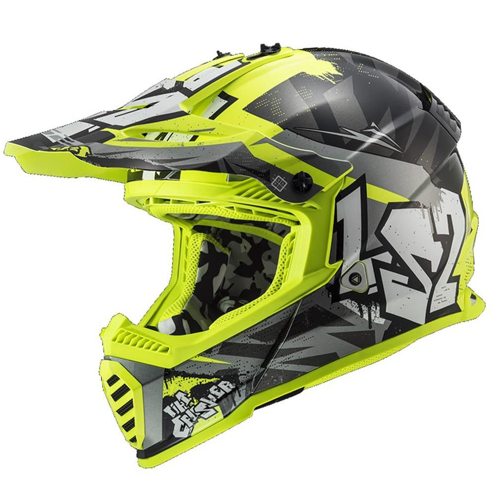 Casco Junior LS2 MX437J Fast EVO Mini Crusher Black H-V Yellow